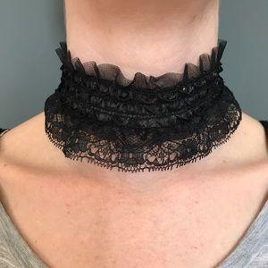 Trixy Xchange Black Fancy Lace Choker Necklace